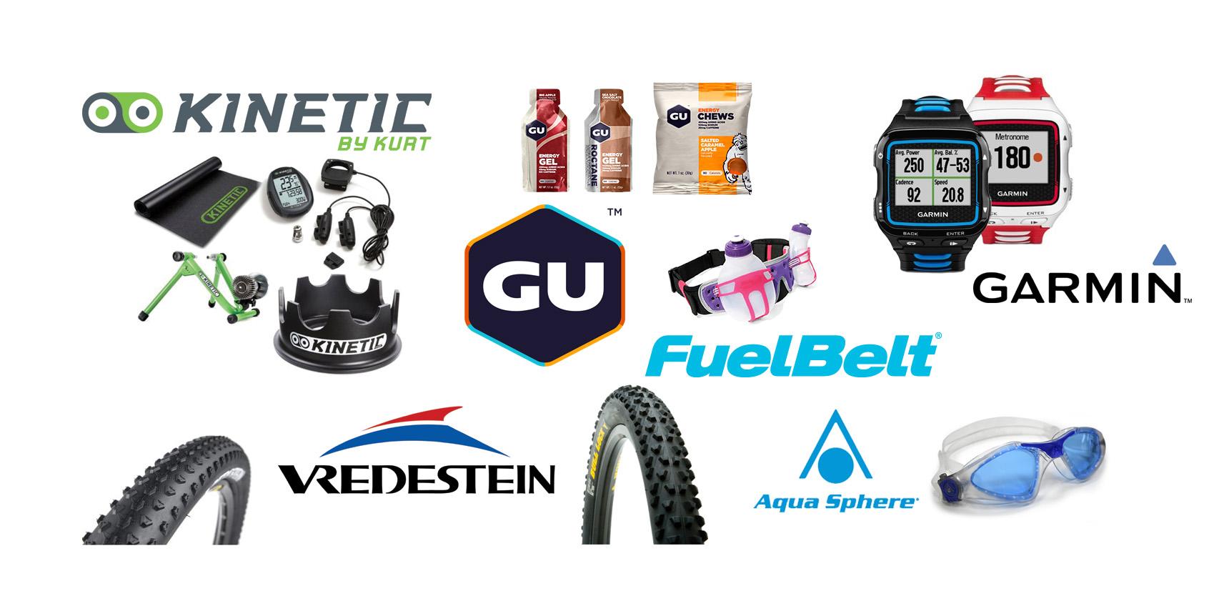 Kurt Kinetic, GU Energy Labs, FuelBelt, Vredestein, Garmin, Aqua Sphere